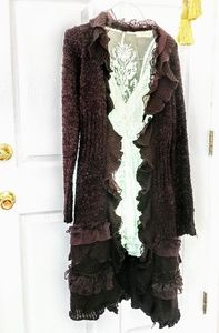 Anthropologie long lace chocolate cardigan